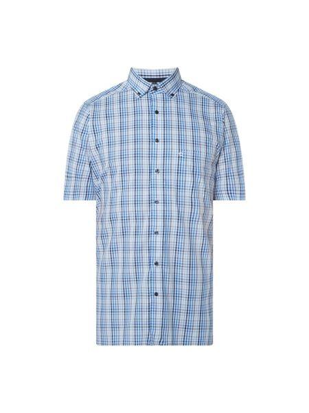 Koszula w kratę krótki rękaw bawełniana Olymp