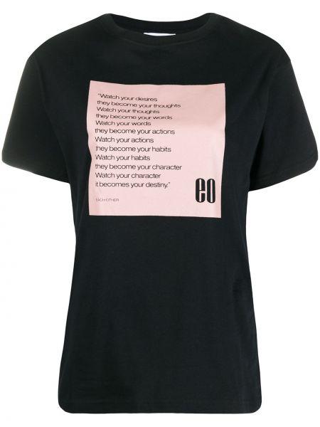 Czarny t-shirt bawełniany z printem Each X Other