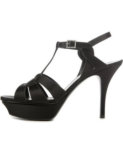 Босоножки на каблуке на шпильке со стразами Saint Laurent