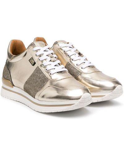 Золотистые желтые кроссовки на шнуровке Karl Lagerfeld Kids