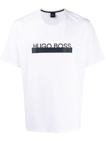 Koszula krótkie z krótkim rękawem z logo prosto Boss