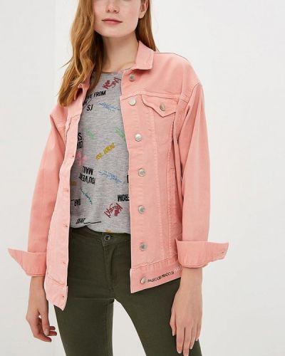 Джинсовая куртка весенняя розовая Sh