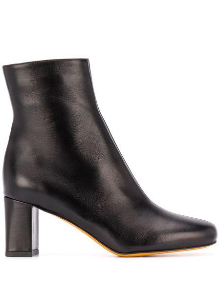 Czarny buty na pięcie na pięcie z prawdziwej skóry kwadratowy Maryam Nassir Zadeh
