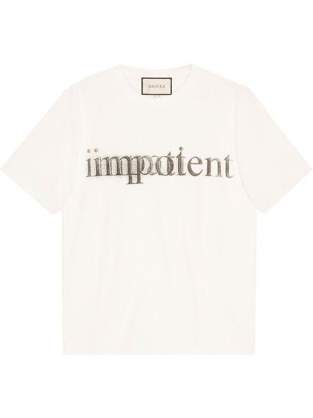 Bawełna biały koszula z krótkim rękawem z mankietami okrągły dekolt Gucci