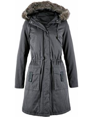 Куртка с капюшоном утепленная длинная Bonprix