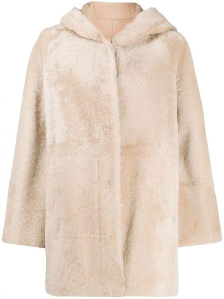 Парусиновое бежевое длинное пальто на крючках с карманами Drome