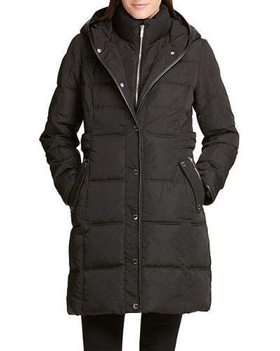 Черное длинное пальто с капюшоном с длинными рукавами Dkny