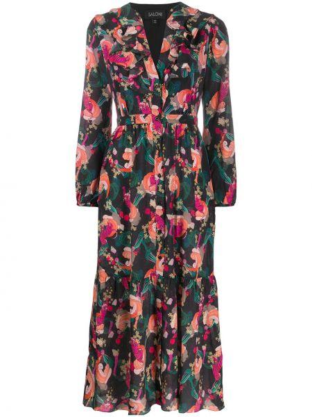 Платье миди на пуговицах с V-образным вырезом Saloni
