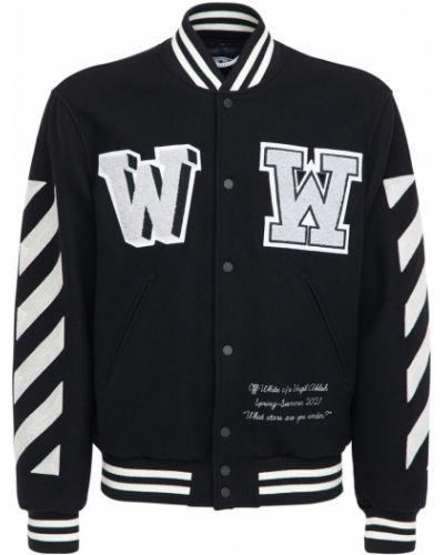 Wełniany czarny kurtka z kieszeniami z łatami Off-white