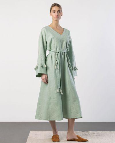 Этническое платье оверсайз мятное Etnodim