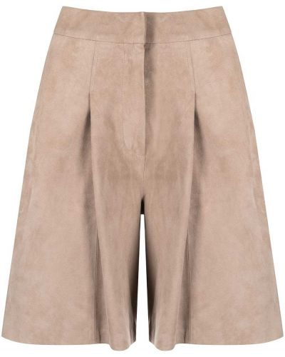 Бежевые кожаные шорты с карманами Arma