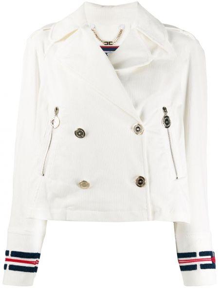 С рукавами белая куртка на молнии двубортная Elisabetta Franchi
