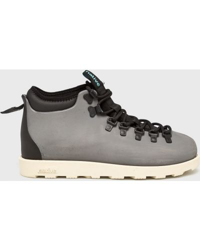 Ботинки на шнуровке высокие серые Native