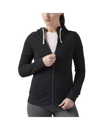 Czarna bluza sportowa z kapturem bawełniana Reebok