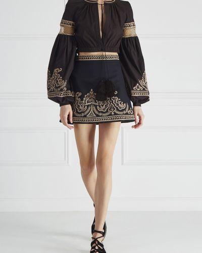 Блузка с вышивкой черная Wandering