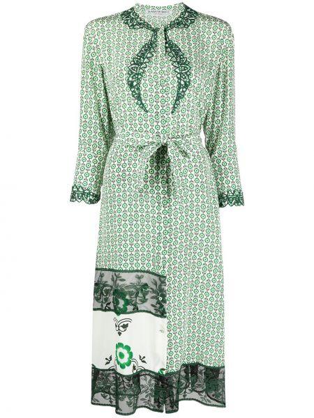 Шелковое зеленое платье макси с вышивкой Ermanno Scervino