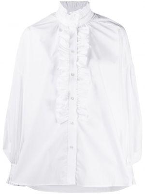 Хлопковая с рукавами белая рубашка Msgm