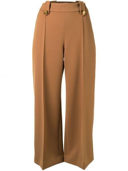 Шерстяные с завышенной талией коричневые укороченные брюки Mulberry