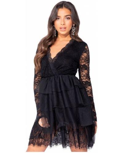 Czarna sukienka z siateczką Parisian