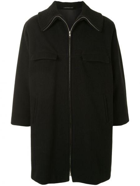 Прямое шерстяное длинное пальто с воротником на молнии Yohji Yamamoto Pre-owned
