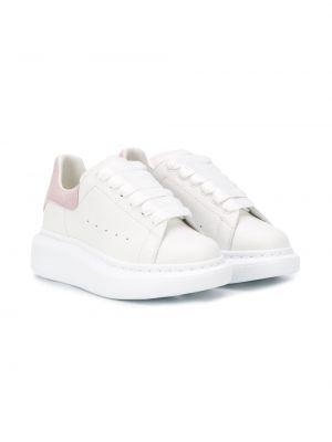 Skórzane sneakersy różowy białe Alexander Mcqueen