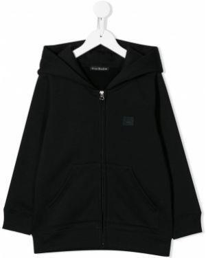 Czarna bluza długa z kapturem z długimi rękawami Acne Studios Kids