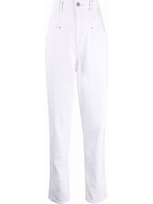 Mom jeans bawełniane - białe Isabel Marant