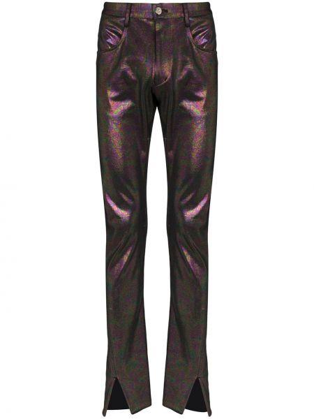 Fioletowe spodnie bawełniane z paskiem Sulvam