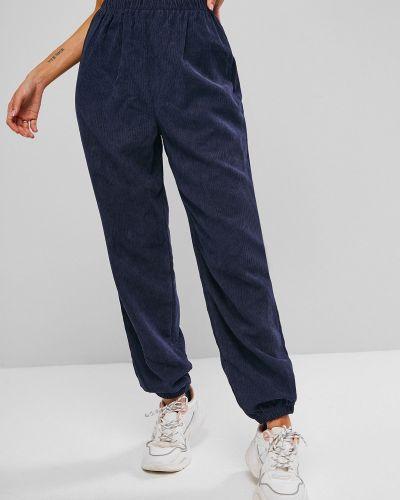 С завышенной талией синие брюки вельветовые Zaful