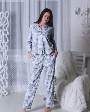 Пижама с брюками бархатная на пуговицах золотое руно