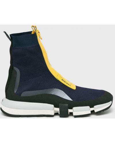 Кожаные кроссовки на молнии текстильные Diesel