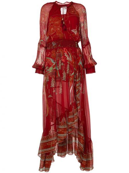 Платье с поясом красный с рукавами Camilla
