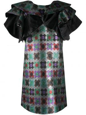 Серебряное шелковое с рукавами платье мини La Doublej