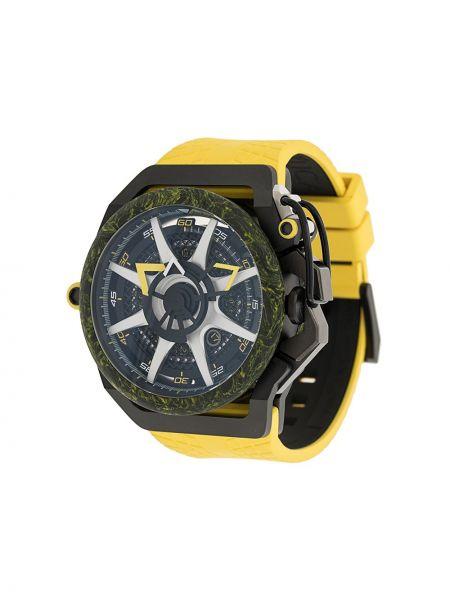 Czarny zegarek mechaniczny srebrny klamry Mazzucato