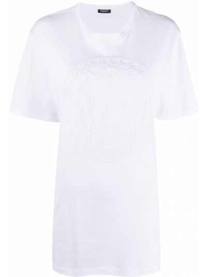 Хлопковая белая прямая футболка с круглым вырезом Versace