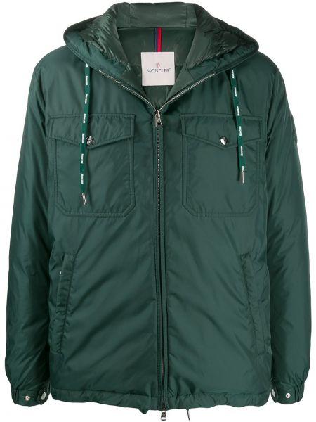Puchaty zielony kurtka z kapturem z kieszeniami z długimi rękawami Moncler