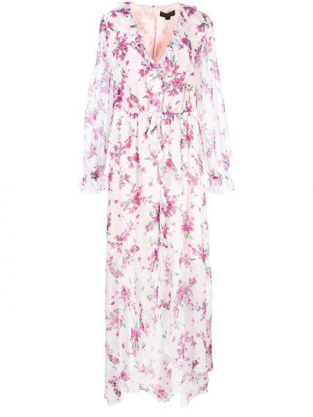 Sukienka długa kopertowa z długimi rękawami z jedwabiu Rachel Zoe