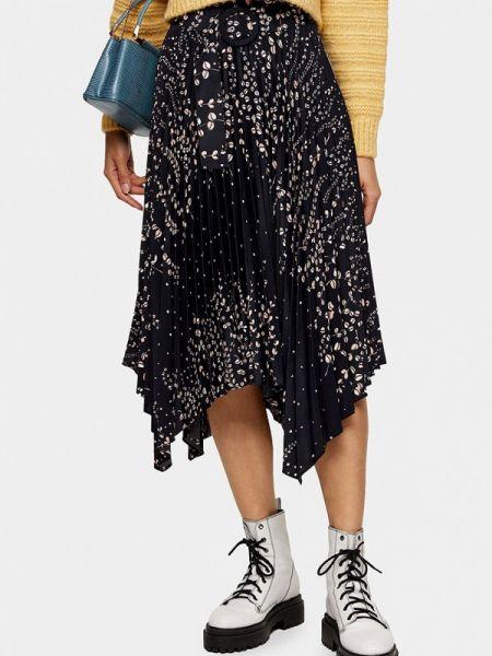 Плиссированная юбка черная весенняя Topshop