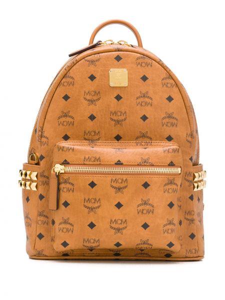 Кожаный рюкзак - золотой Mcm