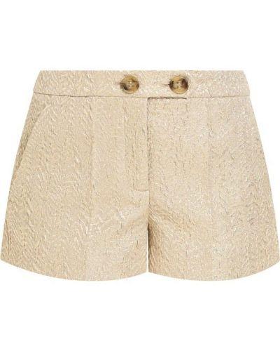 Хлопковые короткие шорты золотого цвета Redvalentino