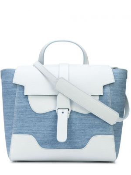 Niebieska torebka skórzana klamry Senreve