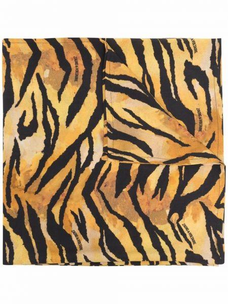 Żółty szalik z wiskozy z printem Zadig&voltaire