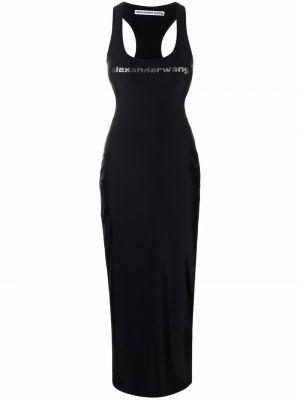 Sukienka długa z printem - czarna Alexander Wang