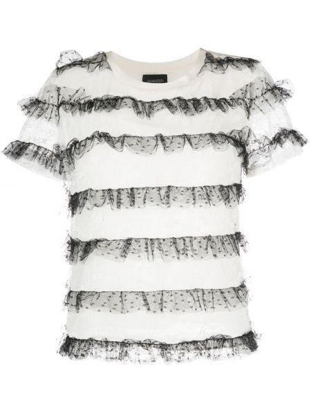 Черная прямая рубашка с коротким рукавом из фатина круглая Giambattista Valli