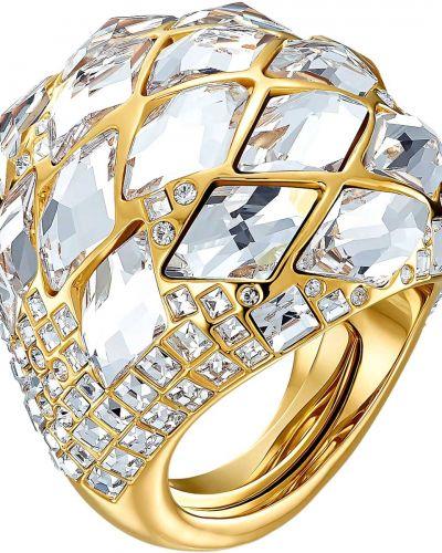 Золотистое кольцо золотое металлическое Swarovski