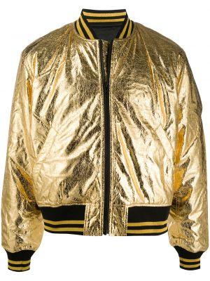 Бомбер золотой в рубчик с карманами на молнии Ktz