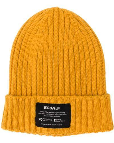 Желтая шапка бини с нашивками Ecoalf