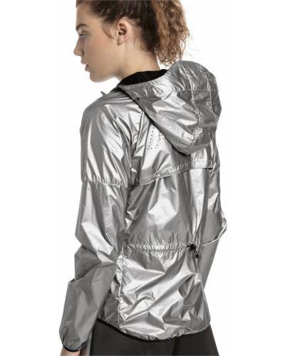 Серебряная нейлоновая облегченная куртка с капюшоном на молнии Puma