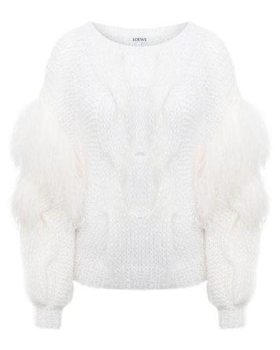 Белый свитер из мохера с декоративной отделкой Loewe