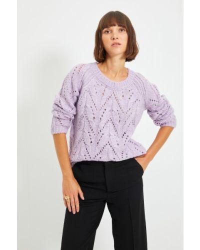 Sweter z akrylu - liliowy Trendyol